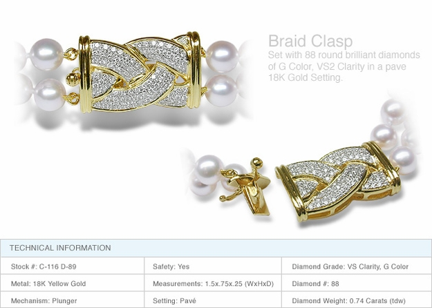 Braid Clasp a 18K Gold and Diamond Clasp