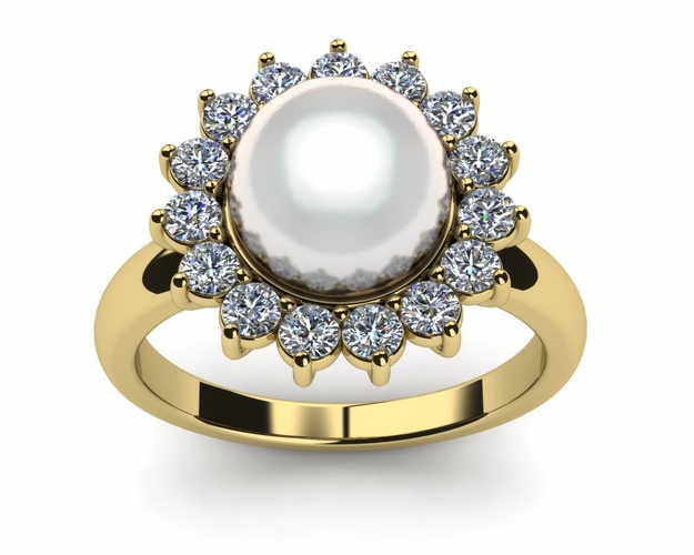 Brilliant Flower a Japanese Akoya Cultured Pearl and Diamond Ring