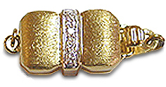 Brush 14K Gold and Diamond Buckle Clasp