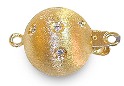 Brush Finish Yellow Gold Diamond Ball Clasp