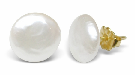 Button Stud Freshwater Cultured Pearl Earrings