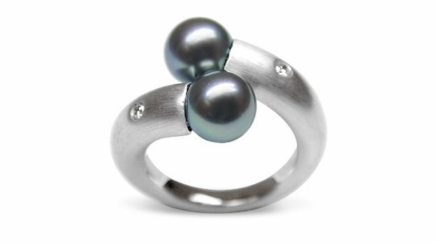 Camille a Black Pearl Ring Japanese Akoya Cultured
