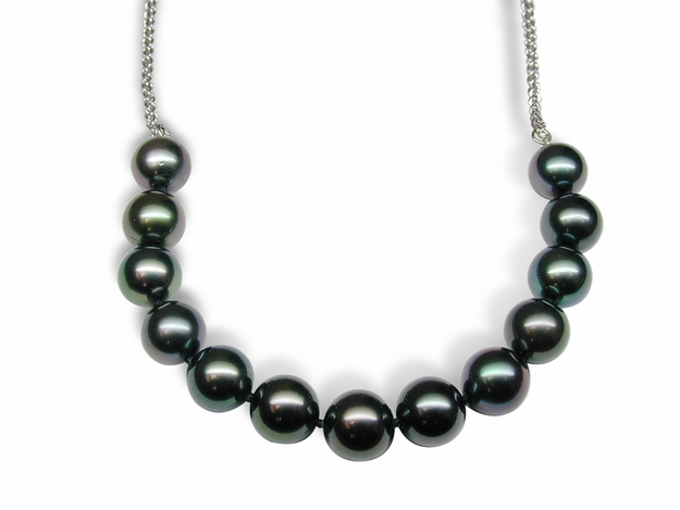 Centered Black Tahitian Cultured Pearl Necklace on Weave Chain