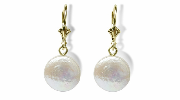 Coin Dangle a Freshwater Cultured Coin Pearl Earring