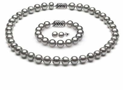 Complete set of AAA Quality 6.5-7.0 mm Grey Freshwater Pearls