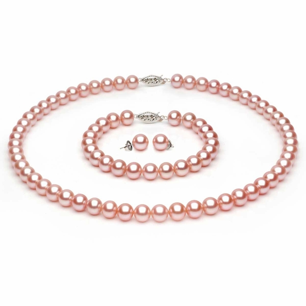Complete set of AAA Quality 6.5-7.0 mm Peach Freshwater Pearls