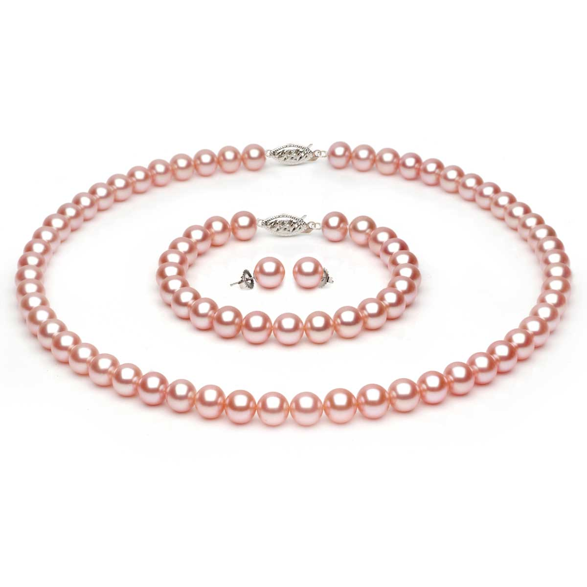 peach pearls akoya pearl necklace p