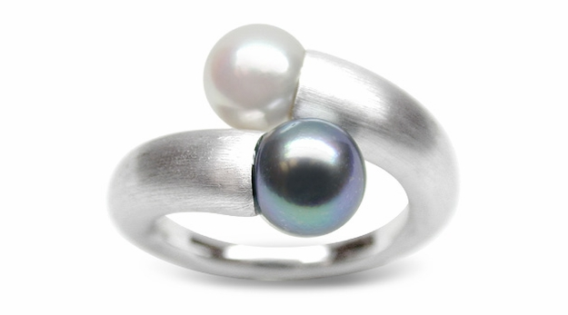 Cordelia a Black Bodycolor Japanese Akoya Cultured Pearl Ring