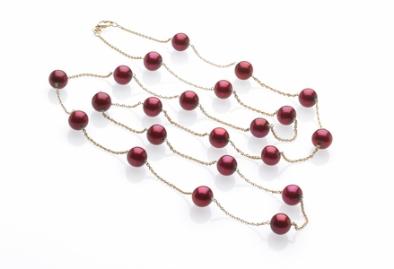 Cranberry Pearl Tin Cup Necklace