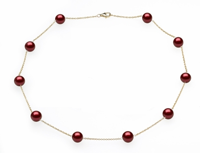 Cranberry Tin Cup Necklace