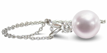 Cultured Pearl & Diamond Pendant Necklace