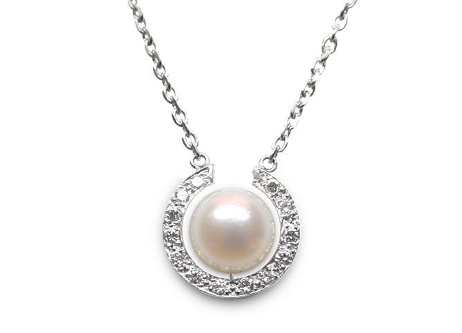 Diamond horseshoe and pearl pendant american pearl diamond horseshoe and pearl pendant aloadofball Image collections