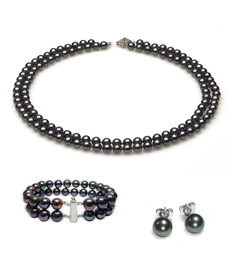 Double Strand Black Freshwater Pearl Set American Pearl