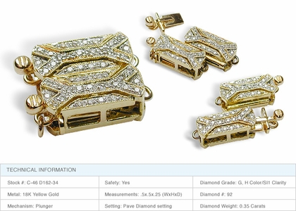 Double X 18K Yellow Gold Clasp
