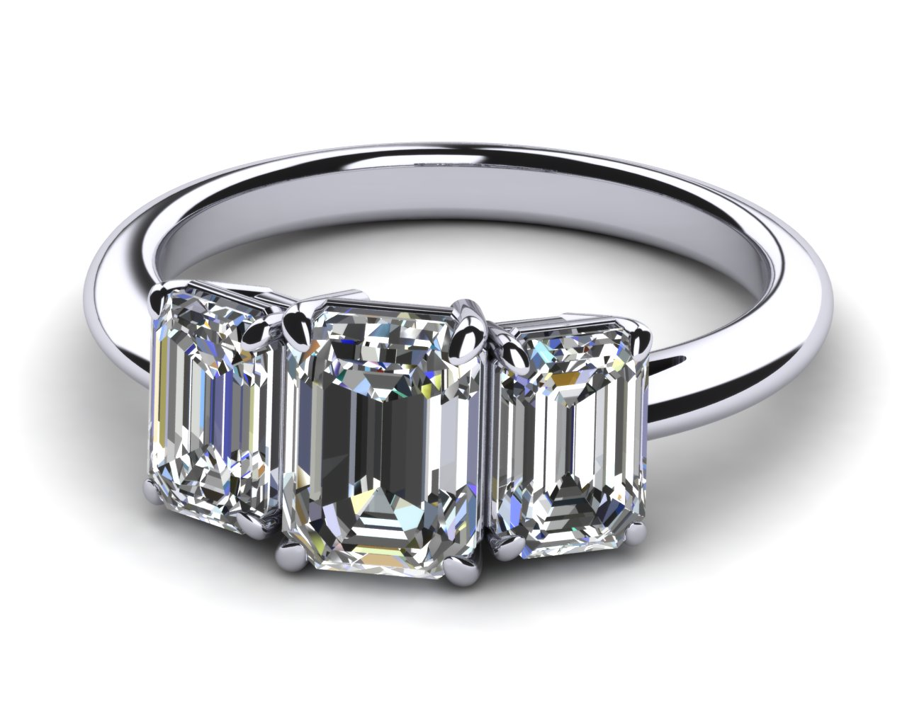 emerald cut three engagement ring