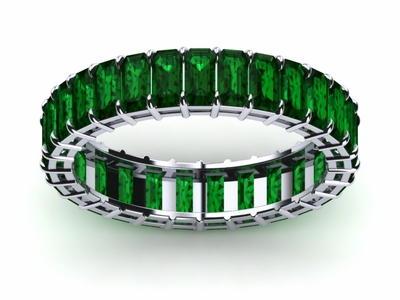 Emerald Cut White Gold Emerald Ring