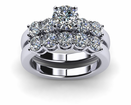 Engagement Rings Wedding Sets Platinum Common Prong Five Round Diamond Engagement Ring