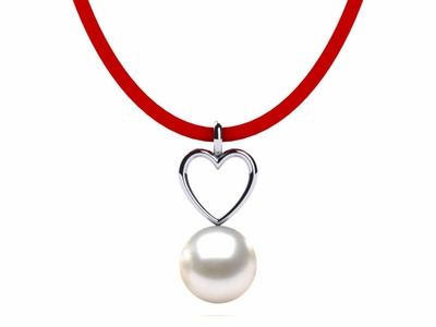 Freshwater Leather Heart Pearl Pendant