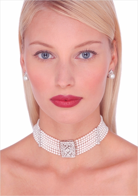 Freshwater Pearl Collar Necklace with Diamond Clasp
