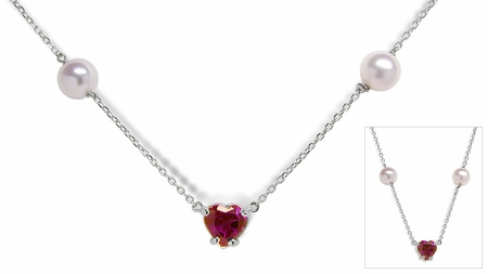 Garnet Heart and Pearl Tin Cup Necklace