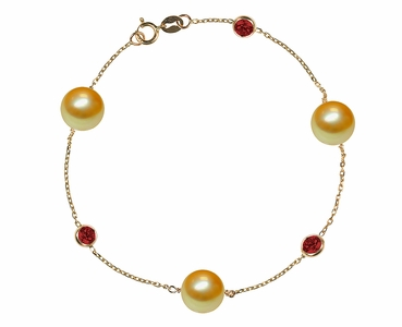 Golden Pearl and Ruby Bracelet