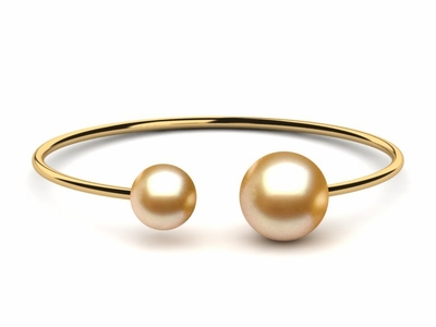 Golden Pearl Bangle Bracelet