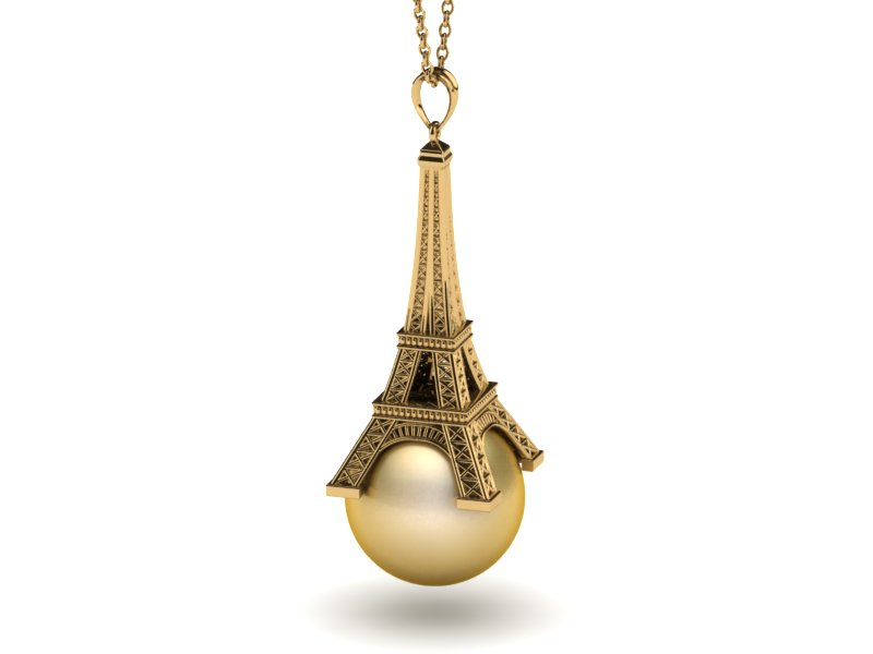14k yellow gold golden pearl eiffel tower pendant golden pearl eiffel tower pendant aloadofball Image collections