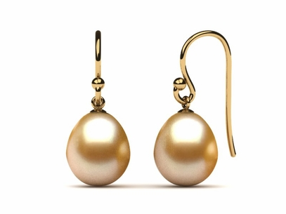 Golden Pearl French Wire Drop Earring