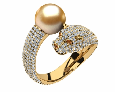 Golden Pearl Lioness Bypass Ring