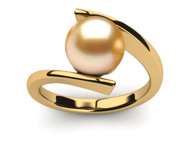 Golden Pearl Ring Ionic Style American Pearl