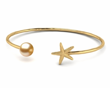 Golden Pearl Starfish Bangle Bracelet