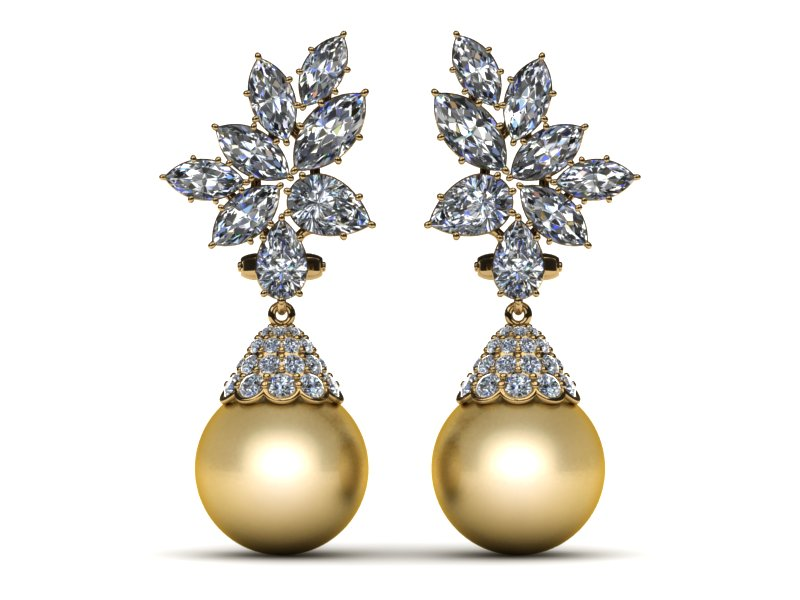 14K Yellow Gold Diamond & Golden Pearl Cluster With Cap Pearl Earring