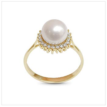 Golden Sunflower Japanese Akoya Cultured Pearl Ring