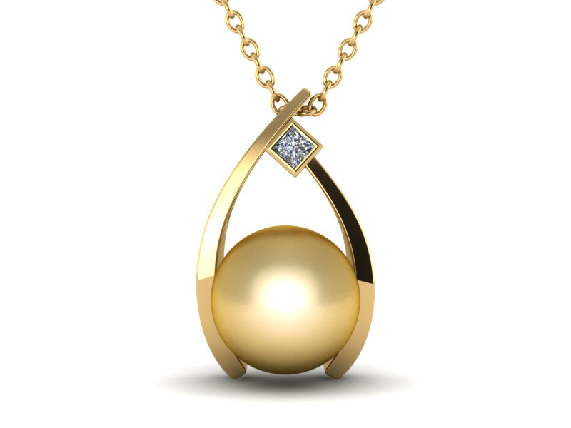 tear yellow pearl drop gold pendant
