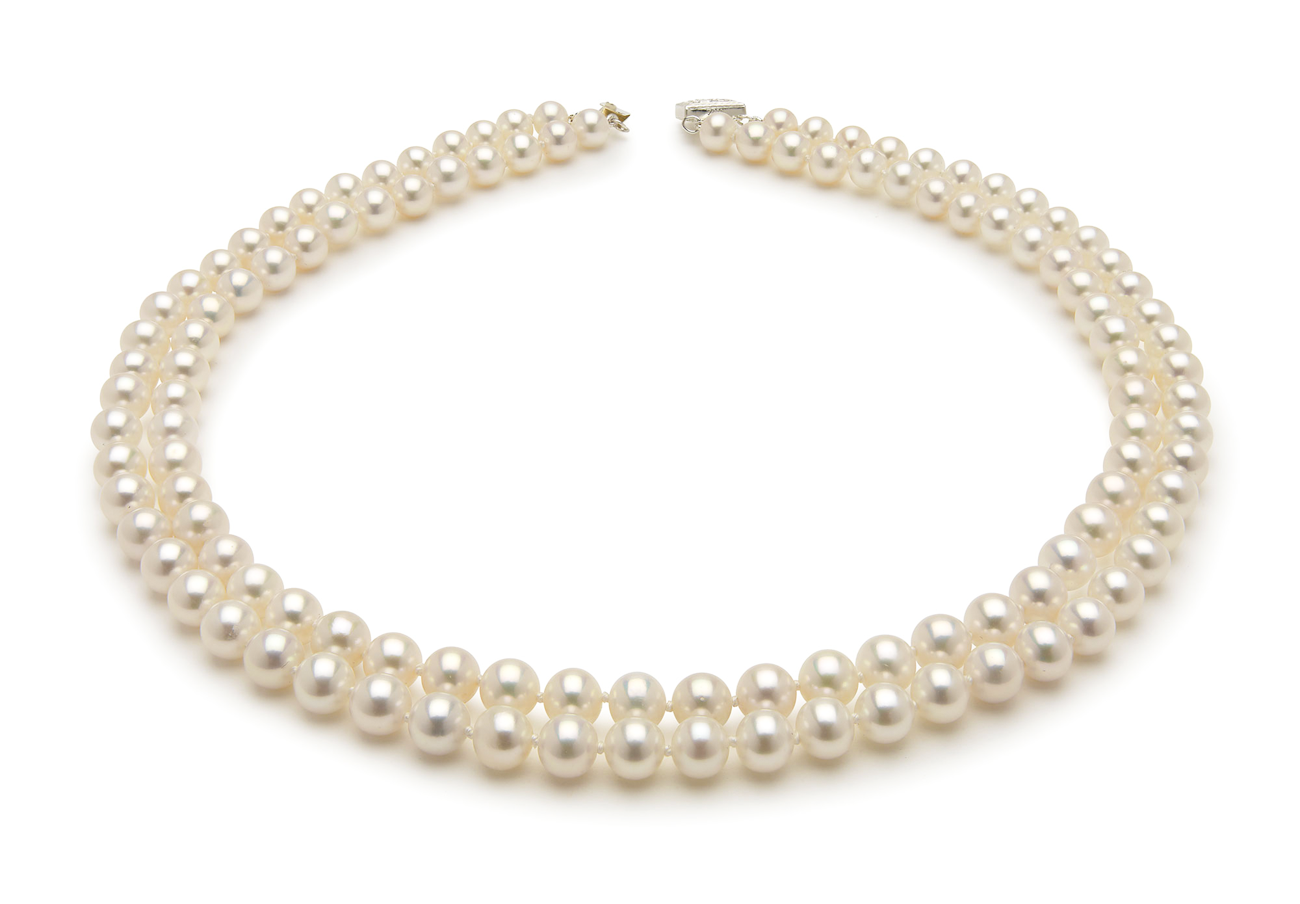 Japanese Akoya Cultured Double Strand Pearl Necklace