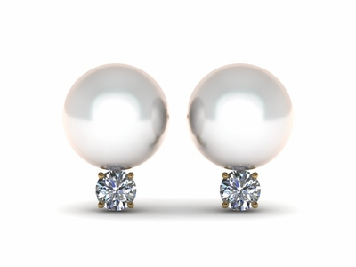 Japanese Akoya Cultured Pearl and Diamond Earring