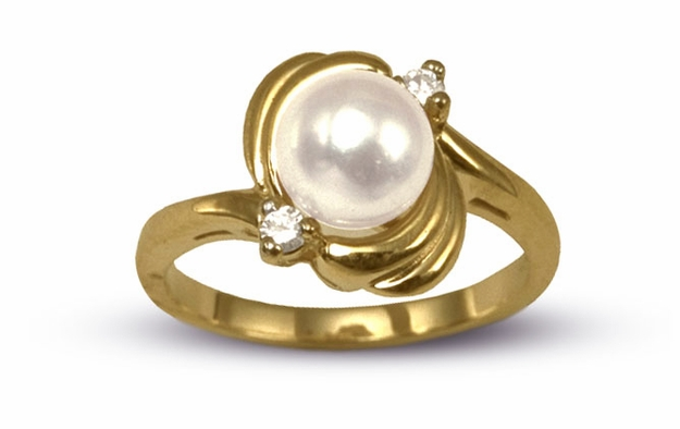 Japanese Akoya Cultured Pearl and Diamond Wave Ring