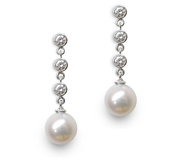 Anese Akoya Cultured Pearl Earring Drop With 3 Diamonds In 18k Gold