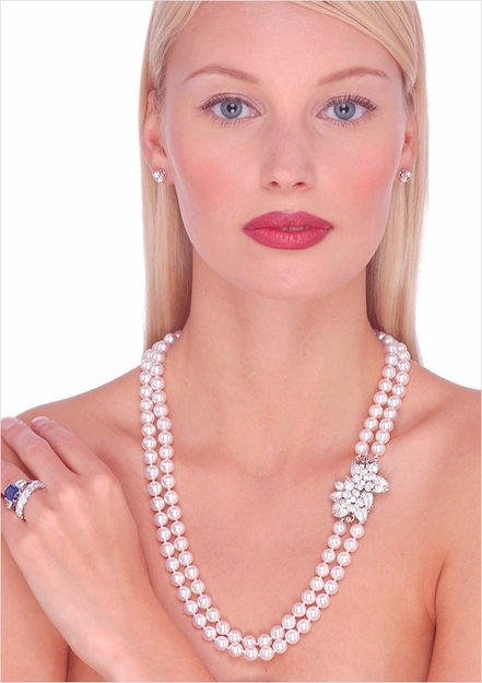 Japanese Akoya Double Strand Cultured Pearl Necklace - 24, 25 inches