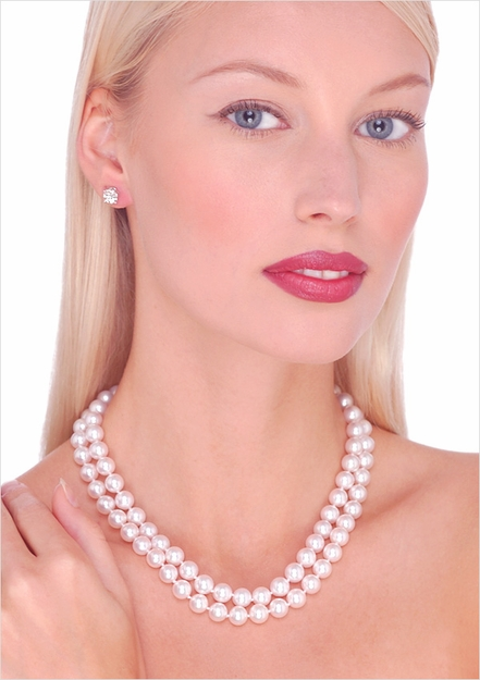 Japanese Akoya Double Strand Cultured Pearl Necklace - 7.5 x 8 mm AA Quality, 16, 17 inches