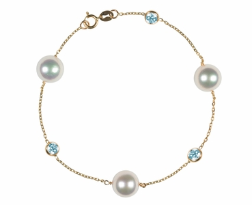 Japanese Akoya Pearl and Aquamarine Bracelet