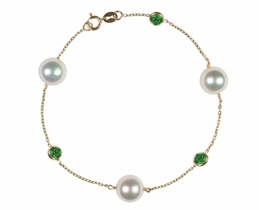 Japanese Akoya Pearl and Emerald Bracelet