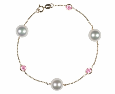 Japanese Akoya Pearl and Pink Sapphire Bracelet