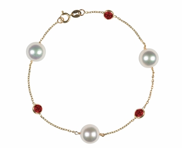 Japanese Akoya Pearl and Ruby Bracelet