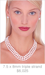 Japanese Akoya Triple Strand Cultured Pearl Neckacle - 16, 17, 18 inches