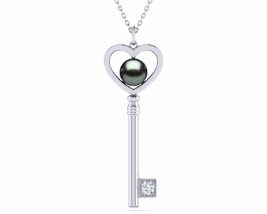 Key To Her Heart Pearl Gemstone Pendant