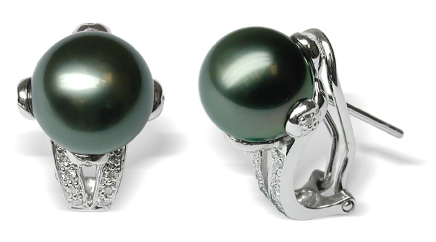 Leah A Black Tahitian South Sea Pearl Earrings