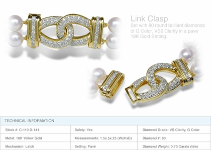 Link Clasp a 18K Gold and Diamond Clasp