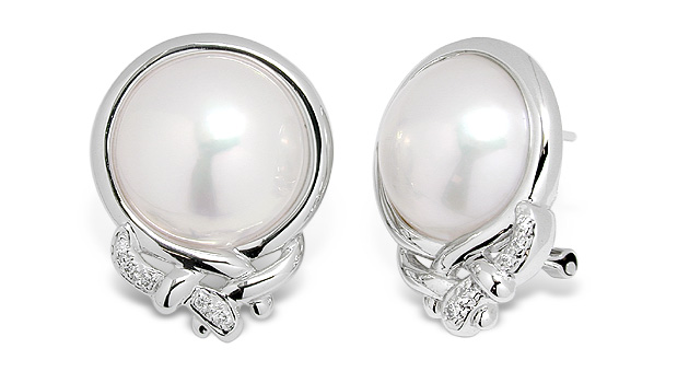 Mabe Pearl And Diamond Earrings Set In 14k White Gold