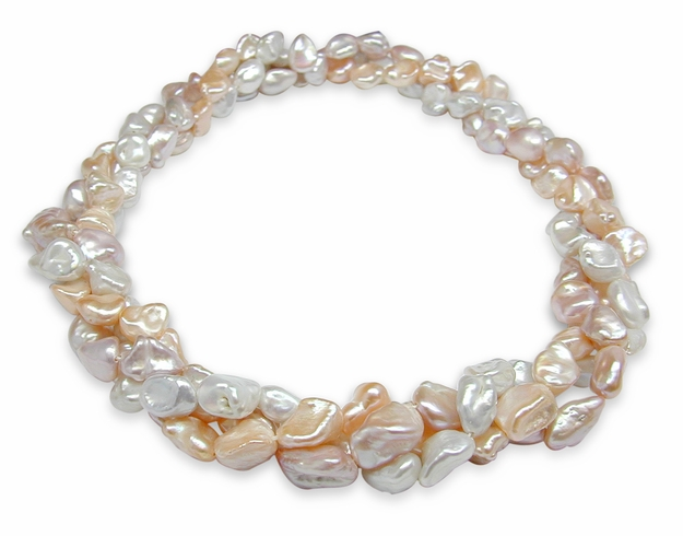 Multicolor Freshwater Biwa Nugget Pearl Multi Strand Necklace